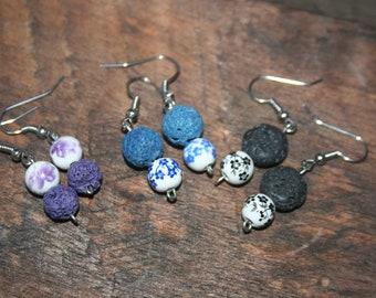 Essential Oil Porcelain Diffuser Earrings, Lava Bead Dangle Earrings, Aromatherapy Earrings, Lava Stone Earrings, Amethyst, Blue Porcelain