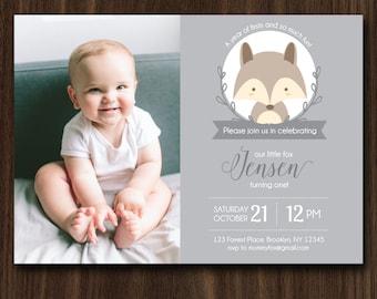 DIGITAL FILE Fox Birthday Invitation, Fox Birthday Invite, Little Fox Theme, Fox Party Invitation, First Birthday 7x5 Inches
