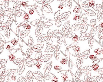 French Country Roosters - Light Red Vines and Berries from Red Rooster Fabrics