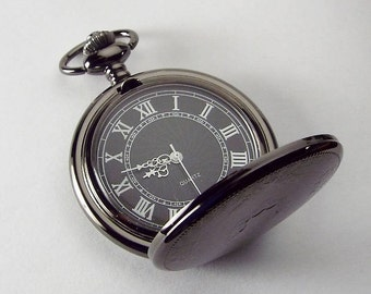 Personalized Pocket Watch Black Crest Cover Custom Engraved Quartz Battery Operated  - Hand Engraved