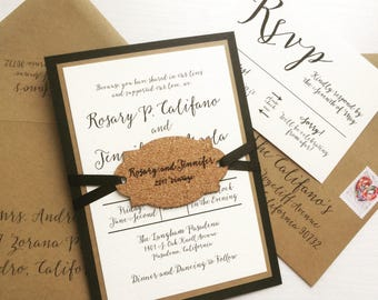 Winery Wedding Invitation with Wine Cork Hangtag - SAMPLE