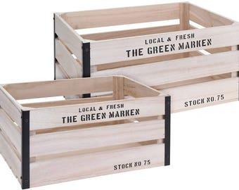 Boxes wood set of 2
