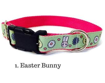 Large Easter Dog collar, Easter Dog collar, large dog collar, pink dog collar, boy dog collar, girl dog collar, bunny dog collar