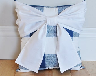 Navy and White Plaid Buffalo Check Bow Pillow, Pillow, Decorative Pillow Cushions, Throw Pillow, Country Decor, Rustic Decor, Nursery Decor