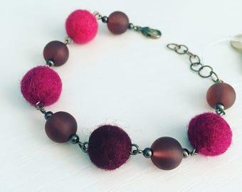 Newport Felt Bracelet in Plum