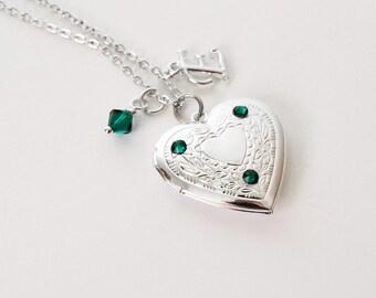 Emerald Locket, May Birthstone, Filigree Flower Crystal Locket Necklace, Initial Necklace, Silver Heart Locket