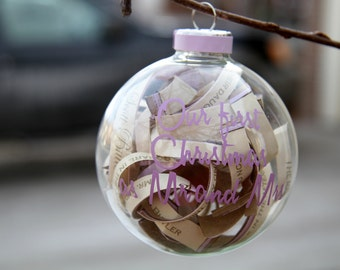 Wedding Invitation Christmas Ornament WITH Vinyl Writing  - Will still make even after the holidays - Great Wedding gifts