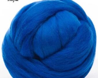 Merino Wool Top - 22.5 micron -Royal - 4 ounces