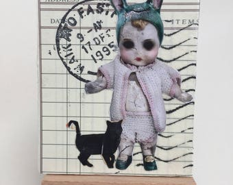 Creepy Doll ACEO - Fantasy Art - Creepy Aceo - carte d'Art foncé - chat noir Aceo