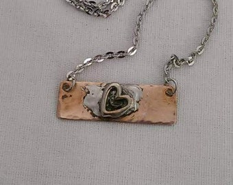 Copper Heart Bar Pendant Necklace - Heart Charm Copper Bar Necklace - Stainless Chain