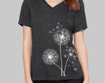 Dandelion, V Neck T Shirt, Dandelion Shirt, v neck shirt, women, v neck tshirt, womens, graphic tees, v neck, screen print shirt