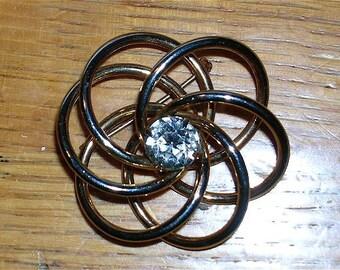 "Vintage Rhinestone Gold Brooch, SALE: ""Saturn Has A Ring Around It"""