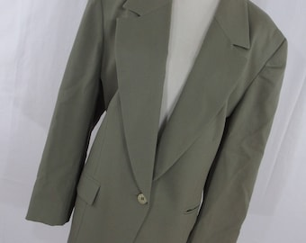 SALE Vintage Pendleton Blazer Jacket 16 Taupe Tan 90s Classic Wool Button Front Lined Womens Long Sleeve R8