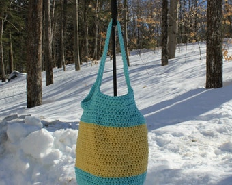Small Market Tote, Small Crochet Bag, Farmer's Market Bag, Crochet Carryall, Eco-Friendly Bag
