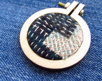 Blue Wool Boro Stitched Wood Hoop Pendant - Necklace