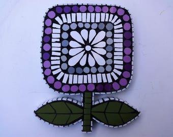 Mosaic, 70's Home Decor, Purple Flower, Mosaic, Mosaic Wall Art