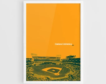 Oakland Athletics, Oakland–Alameda County Coliseum Stadium - A3 Wall Art Print Poster, Major League Baseball, World Series champions
