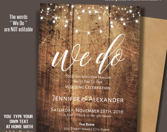 Wedding Invitation, printable We do Invite, Rustic Wedding, Barn wedding Templates, Instant Download Self-Editable PDF A219