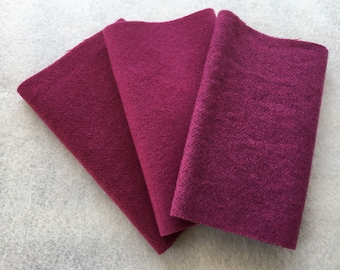 """Hand Dyed Felted Wool, Raspberry, Three 6.5"""" x 16"""" pieces in Deep Magenta"""