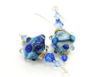 Blue Earrings, Crystal Shape Earrings, Lampwork Earrings, Bumpy Bead Earrings, Unique Earrings, Glass Earrings, Glass Bead Earrings