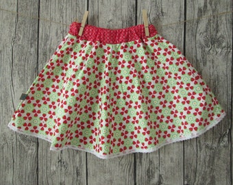 Sweet girl skirt with strawberries, white/red, size 122/128