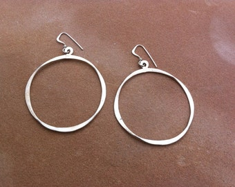 Large silver hammered circle earrings