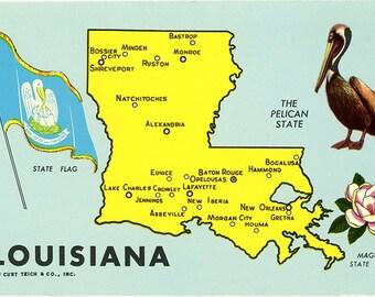 Louisiana State Map Pelican State Vintage Postcard (unused)
