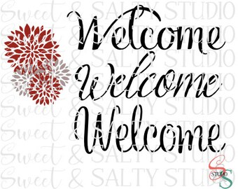 welcome with dahlias digital file