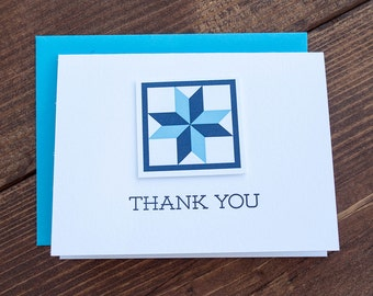 Thank You. Quilt Letterpress Greeting Card