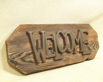 Rustic Cast Iron  Welcome Sign  (1/2 price sale) lodge cabin decor -- reclaimed western cedar