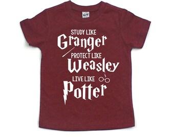 Study Like Granger, Protect Like Weasley, Live Like Potter Kids Tee - Kids Shirt - Boys Shirt - Girls Shirt - Back to School - Gift for Kids