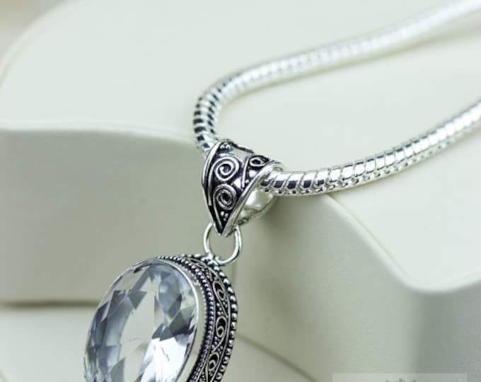 Clear Quartz Vintage Filigree Setting 925 S0LID Sterling Silver Pendant + 4mm Snake Chain & FREE Shipping p3258