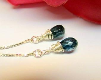 Threader Earrings, London Blue Topaz Earrings, Sterling silver Threader earrings, Dangle Earring Teardrops, December birthday