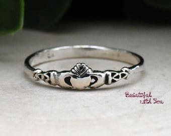 Irish Claddagh Ring Mother and Daughter Jewelry Rings Love Loyalty and Friendship Sterling Silver Present Gift Idea for Girls Childrens