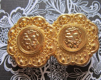 Vintage Embossed Gold Belt Buckle