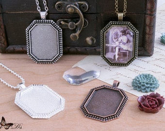 4 Kits - 4 23x30mm Octagonal Pendant Trays - 4 23x30mm Octagonal Glass Tile Cabochons - 4 Matching Jewelry Chains - DIY Craft Kit.