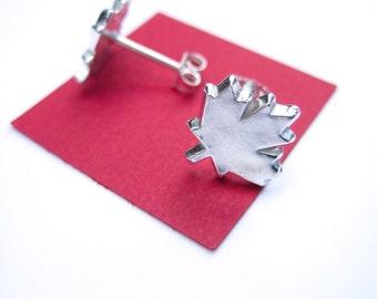 Maple Leaf Stud Earrings, Maple Leaf Earrings, Canada Leaf Jewelry