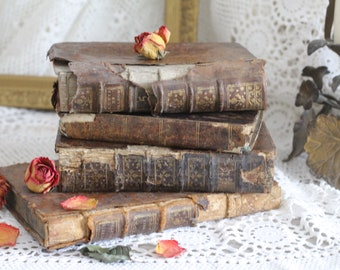 Set of 4 Antique French Leather Bound Books - 18th/19th Century - Paris