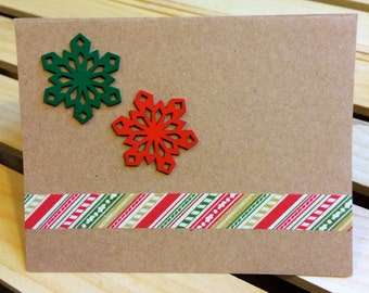 Wooden Snowflake Holiday Card