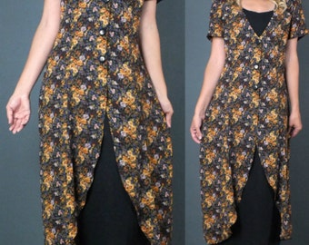 90's Grunge Revival Sheer Floral Print Layer Maxi Dress Festival  S-M