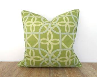 Pistachio green outdoor pillow cover 18x18 front porch decor, trellis outdoor cushion cover, geometric throw pillow case outdoor fabric