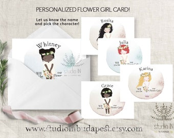 Flower girl card, will you be my flower girl, personalised flower girl card, Flower Girl Proposal, Custom Wedding Card, Bridal Party