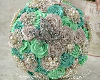 Mint wedding bouquet, Green brooch bouquet, Bridal bouquet, Silver bouquet, Bridesmaid bouquet, Green wedding, Pearl bouquet, Charm bouquet