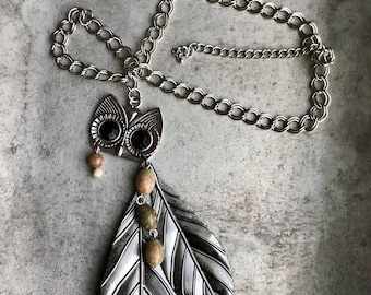 Owl, Feather and Autumn Jasper Necklace