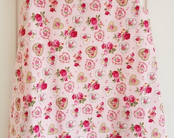 Pink Rose Heart Girls Pinafore Dress Age 3 years