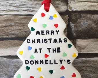 Handmade Personalised Clay Christmas Tree Decoration- Polka Hearts- Gift