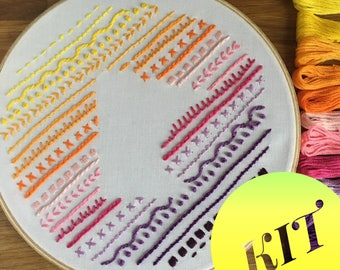 Beginner Embroidery Kit - Sunset Minnesota Sampler
