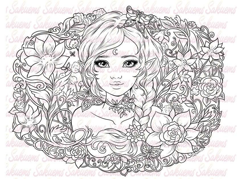 Digital Stamp Fantasy Portrait Cute Elf Spring Flowers Art