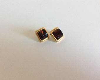 Vintage Square Gold Tone Earrings with Raised Amber Center