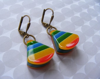 Vintage Red, Green, Blue and Yellow Striped Resin Drop Earrings